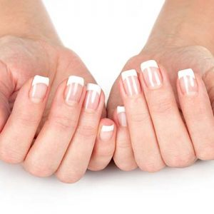 Nail spa treatment with clear polish